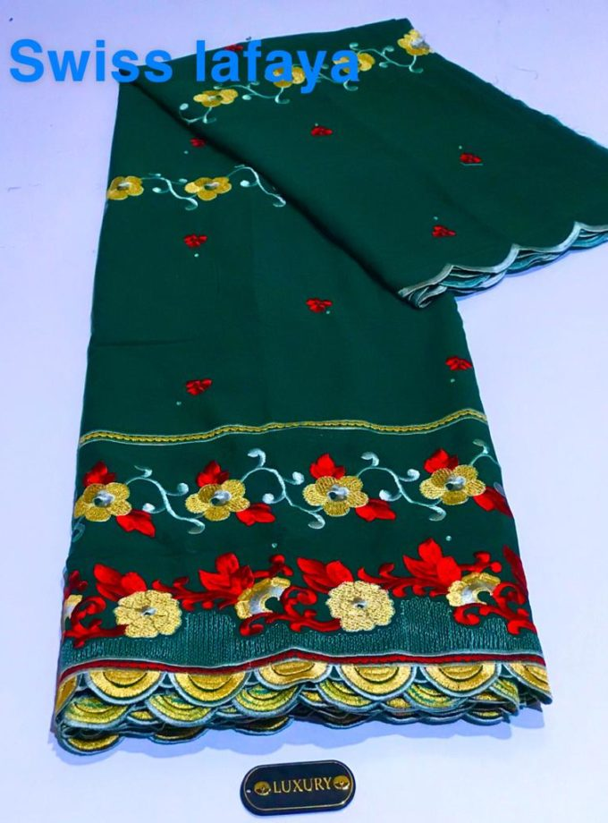 5 yards Green and Red Swiss Lace