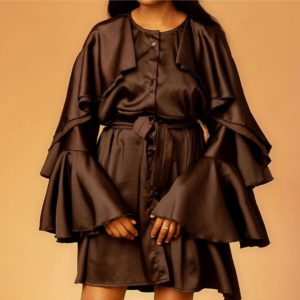 Brown short gown with ruffled sleeves